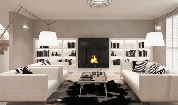 вітальня в білому кольорі фото