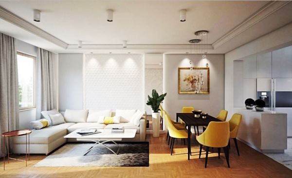 інтер`єр вітальні в білому кольорі фото
