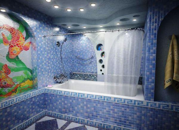 Дизайн мозаїчної плитки для ванної кімнати: релакс-інтер`єр в стильному оформленні (+65 фото)