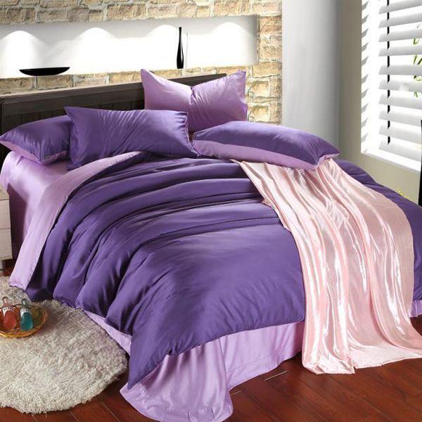 дизайн спальні в бузкових фіолетових тонах фото