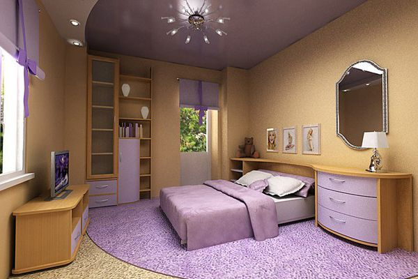 спальня в бузковому кольорі дизайн фото