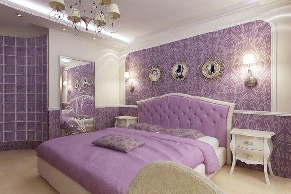 бузкові шпалери в спальні фото