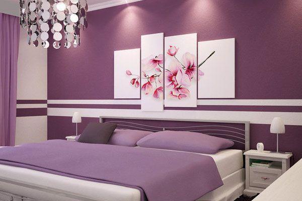 спальня в бузковому кольорі фото