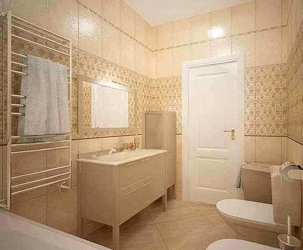 дизайн ванної кімнати в бежевих тонах фото
