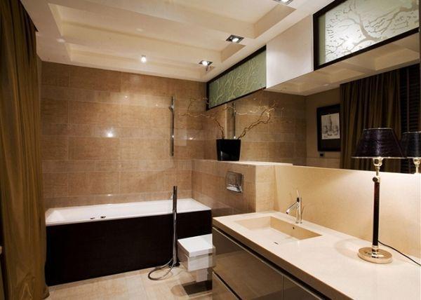ванна кімната в коричнево-бежевих тонах фото