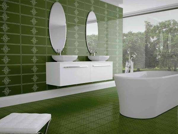 зелена плитка для ванної кімнати фото