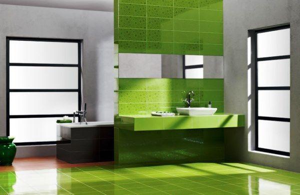 зелена плитка у ванну кімнату фото
