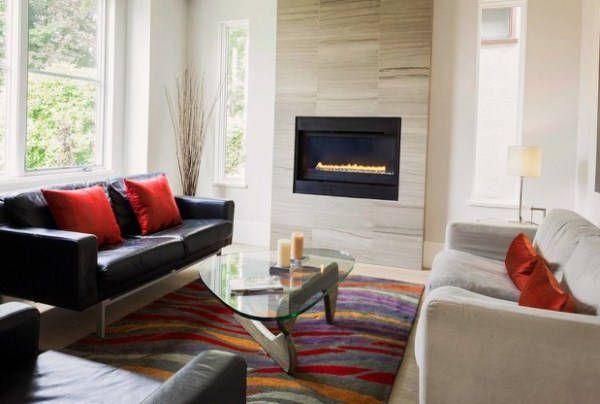вітальня в сучасному стилі з каміном фото