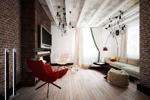 Комфорт і простота: дизайн інтер`єру вітальні в стилі лофт