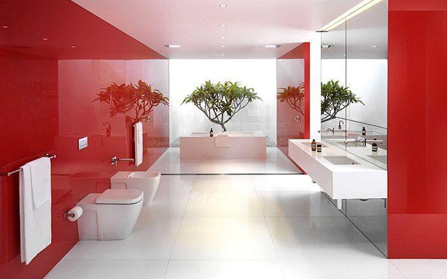 Червоний колір в інтер`єрі ванної кімнати - як використовувати правильно