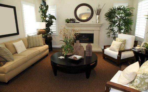 меблі для вітальні в сучасному стилі фото з каміном