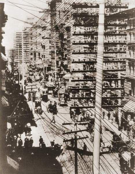 Нью-йорк, обплутаний мережею телефонних проводів, 1887-1888 рр