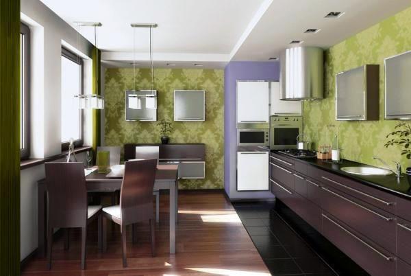 який колір шпалер вибрати для кухні фото