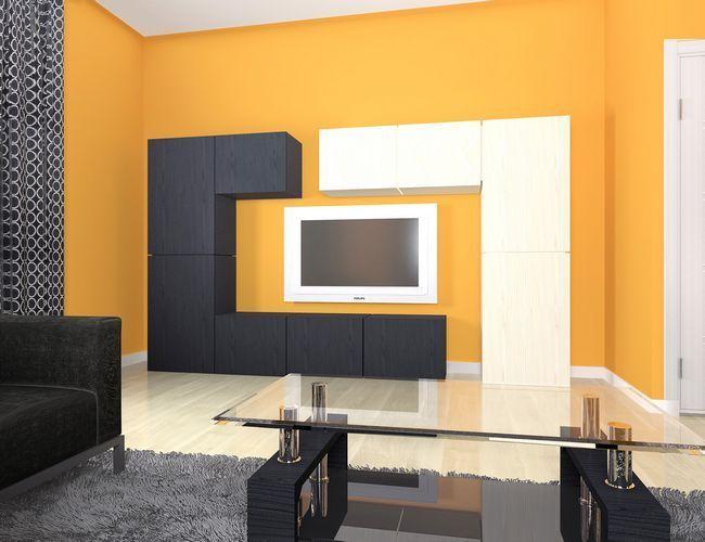 Красиве поєднання помаранчевого і чорного в вітальні