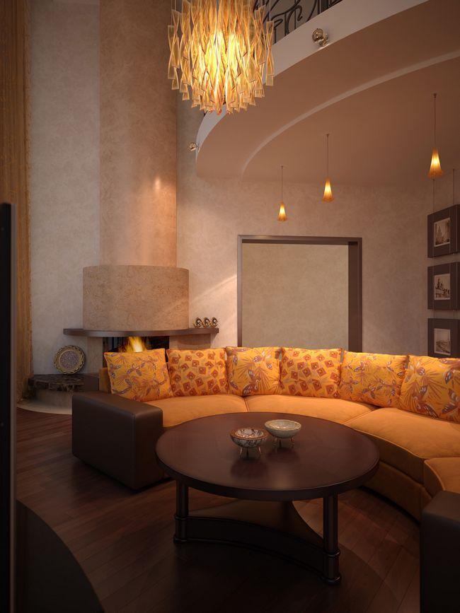 Оранжево-коричневий інтер`єр вітальні