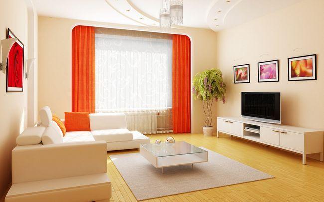 Оранжево-кремова вітальня
