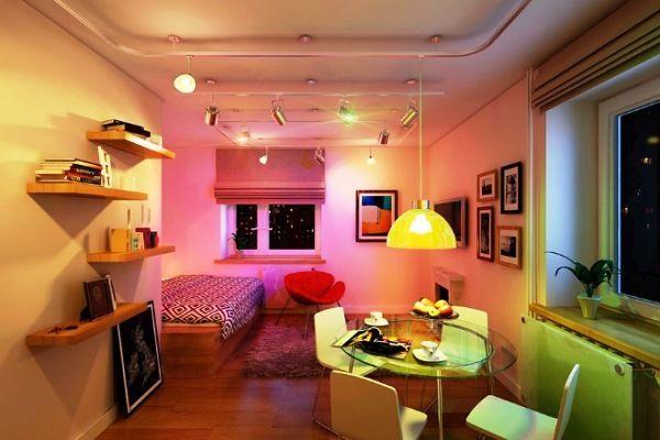дизайн інтер`єру однокімнатної квартири-студії фото 16