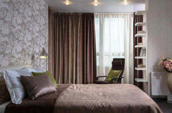 як красиво наклеїти шпалери в спальні двох кольорів фото 6