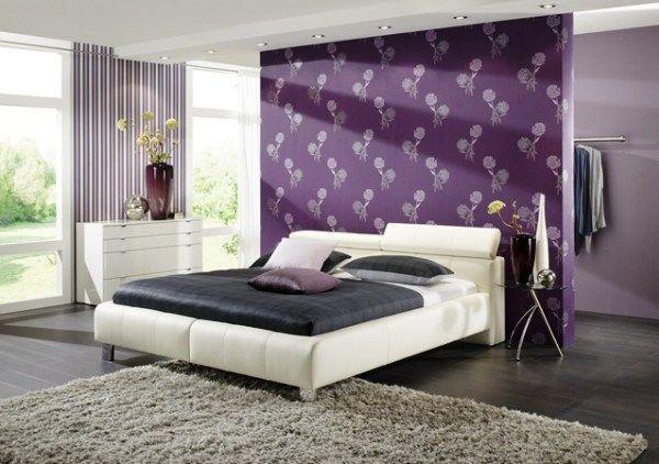 дизайн спальні з шпалерами двох кольорів фото