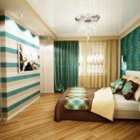 дизайн спальні з шпалерами двох кольорів фото 20