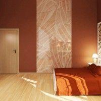 дизайн спальні з шпалерами двох кольорів фото 11