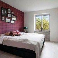 дизайн спальні з шпалерами двох кольорів фото 8