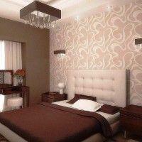 дизайн спальні з шпалерами двох кольорів фото 42