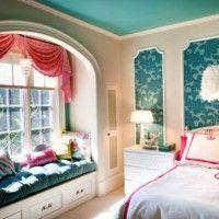 дизайн спальні з шпалерами двох кольорів фото 12