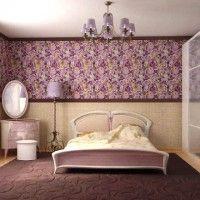 дизайн спальні з шпалерами двох кольорів фото 25