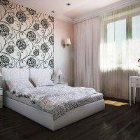 дизайн спальні з шпалерами двох кольорів фото 28