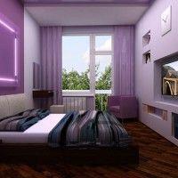дизайн спальні з шпалерами двох кольорів фото 33