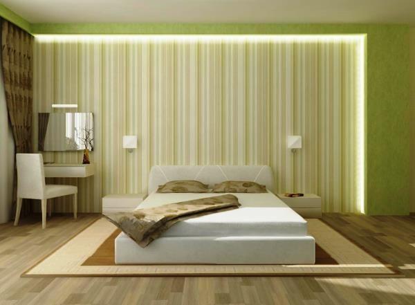 підбір шпалер для спальні двох кольорів фото