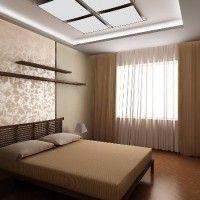 дизайн спальні з шпалерами двох кольорів фото 30