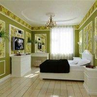 дизайн спальні з шпалерами двох кольорів фото 31