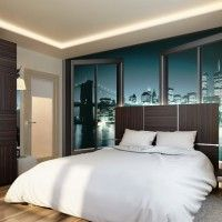 дизайн спальні з шпалерами двох кольорів фото 22