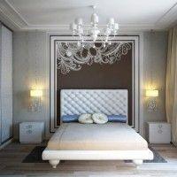 дизайн спальні з шпалерами двох кольорів фото 47