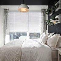 дизайн спальні з шпалерами двох кольорів фото 4