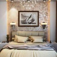 дизайн спальні з шпалерами двох кольорів фото 29