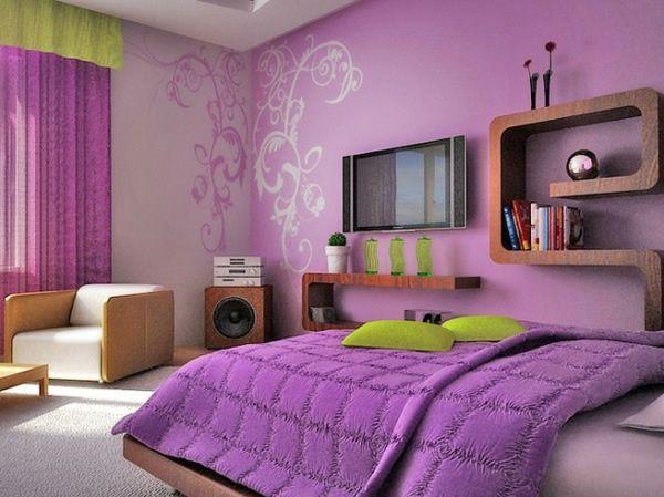 як красиво наклеїти шпалери в спальні двох кольорів фото 2