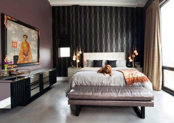 як красиво наклеїти шпалери в спальні двох кольорів фото 3