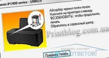 Скидання памерса сanon ip1900.