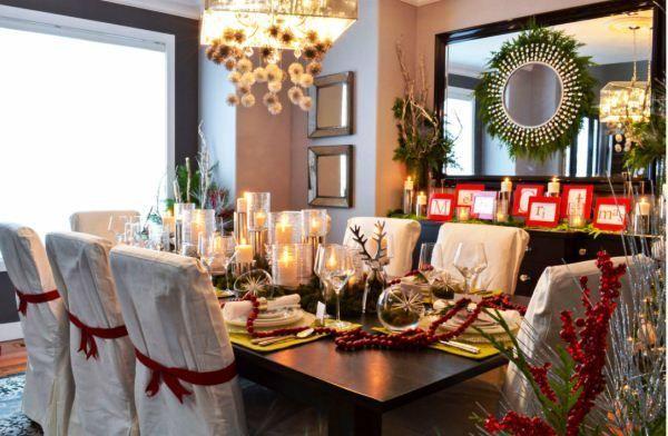 Святкове прикрашання новорічного столу фото